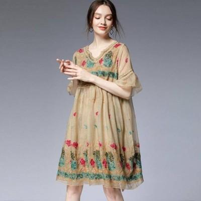 ドレス ぽっちゃり 袖あり 半袖 五分袖 2L~5L ゆったり 大きいサイズ 花柄 刺繍 シフォン ワンピース グリーン ベージュ YL-MD-D7381  服