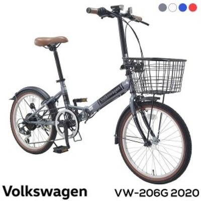 Volkswagen フォルクスワーゲン 折りたたみ自転車 20インチ 6段変速 カゴ付 泥除け 後輪リング錠 バッテリーライト付き VW-206G Beetle 2