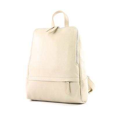 modamoda de - ital. Leather Backpack Ladies Backpack Rucksack Bag Citybag Leather T138, Colour:cream 並行輸入品
