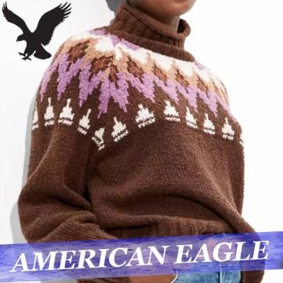 アメリカンイーグル セーター ニット レディース ウィメンズ フェアアイル柄 モックネック トップス 新作 AEO