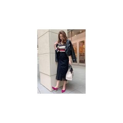 CECIL McBEE チュール付きカーゴタイトスカート ブラック