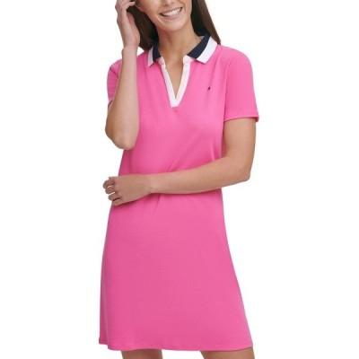 トミー ヒルフィガー ワンピース トップス レディース Cotton Polo Dress Dahlia Combo