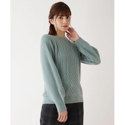 【シューラルー】 ふわふわケ-ブル編みニット レディース カーキ&グリーン 04(LL) SHOO・LA・RUE