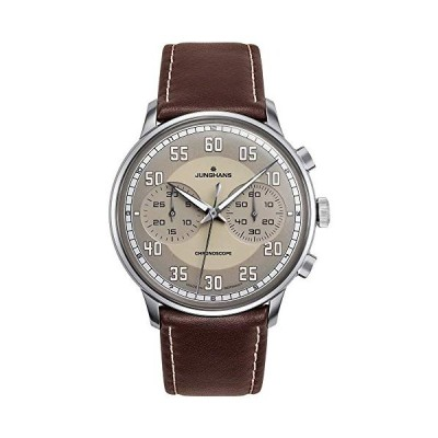 Junghans Meister Driver Chronoscope Mens Automatic Chronograph Watch - 40mm Brown Face with Luminous Hands and Arabic Numerals - Brown Leather Band Lu