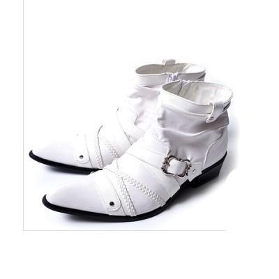 【シルバーバレット】 BOREDOMクロスベルトショートドレープブーツ メンズ ホワイト 41(25.5~26cm) SILVER BULLET