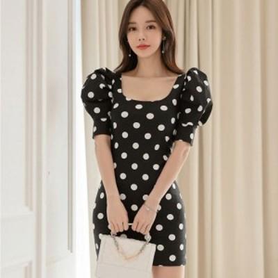 キャバ ドレス キャバドレス ワンピース ミニドレス キュート サラサラ ドット 可愛い 愛らしい ミニ丈 ブラック S M L XL