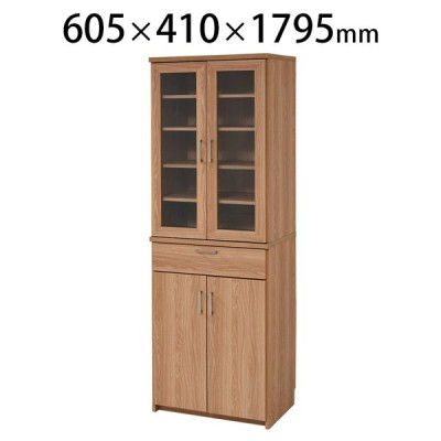 北欧キッチンシリーズ Keittio キッチン収納 食器棚 幅605×奥行410×高さ1795mm JKP-FAP-0020-NABK