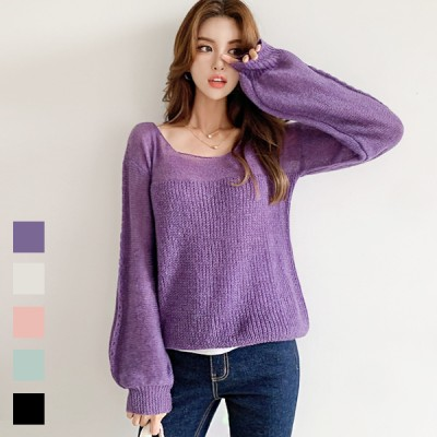 [nak21 秋に着たい『旬ニット』♪💙大人女性におすすめの透かし編みスクェアネックボリューム袖ニット