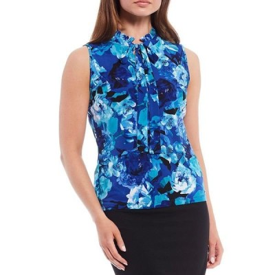 カルバンクライン レディース カットソー トップス Floral Print Matte Jersey Pleated Band Collar Tie-Neck Sleeveless Top Capri Multi