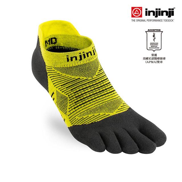 【INJINJI】RUN 輕量吸排五趾隱形襪 [萊姆黃]