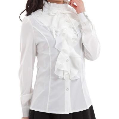 ブラウス レディース 長袖 フリルブラウス シャツ 立ち襟 白 ホワイト (S, ホワイト)
