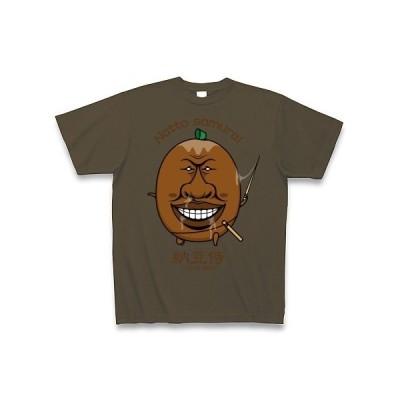 【納豆キャラクター】納豆侍 I LOVE 納豆 Tシャツ Pure Color Print(オリーブ)