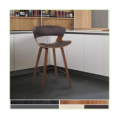 """Armen Living Jagger Modern 26"""" Wood and Faux Leather Counter Height Bar Stool, Brown/Walnut「並行輸入品」"""