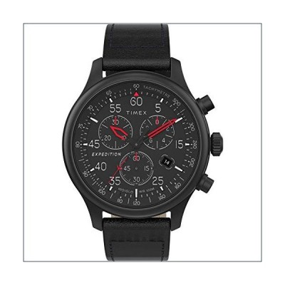 ★新品★Timex Men's TW2T73000 Expedition Field Chronograph Blackout Leather Strap Watch【並行輸入品】