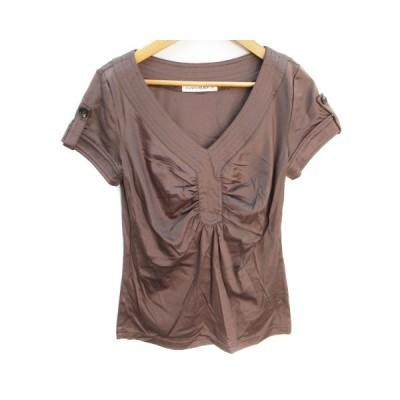 【中古】エムプルミエ ブラック M-Premier BLACK カットソー Tシャツ 半袖 Vネック ギャザー 無地 36 茶 ブラウン /FF37 レディース 【ベクトル 古着】