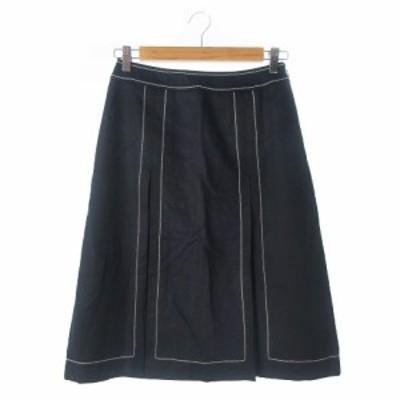 【中古】ジェイプレス J.PRESS スカート ボックスプリーツ ロング ミモレ 刺繍 ステッチ ウール 11 黒 ブラック