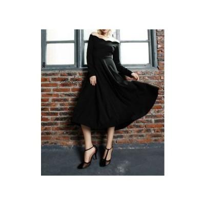 エレガントなヘップバーン風リトルブラックドレス ロング丈