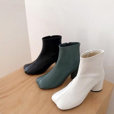 ショートブーツ サイドジップ オブリークトゥ 丸ヒール ハイヒール レディースシューズ レザー 靴 婦人靴 黒 緑 白 ブラック グリーン ホワイト