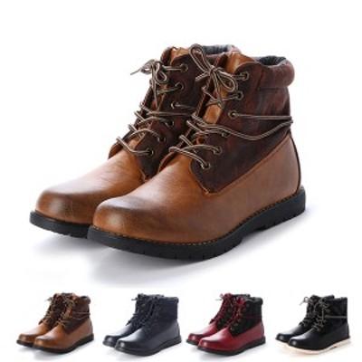 ブーツ ショートブーツ レースアップブーツ 迷彩柄 カモフラ フェイクレザー 合皮 サイドジップ レザー調 ショート丈 防水 靴 シューズ