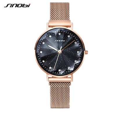 SINOBI レディース腕時計 クォーツ スターリーデザイン クリスタルカット エレガント ファッション