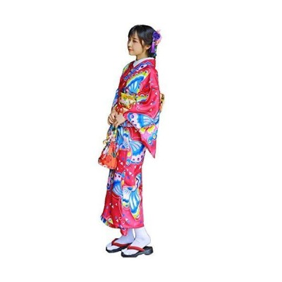 FADVES 浴衣 レディース 単品 女性用 大人用 蝶柄 和装 和服 着物 ゆかた 可愛い レトロ クラシック 花火大会 夏祭り 盆踊り