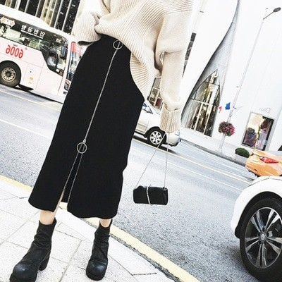 フロントリングジッパースカート 韓国ファッション スカート タイトスカート 着痩せ ロングスカート ハイウエスト ハイウエストスリムミドル丈ブラックヒップスカート