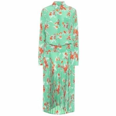 プラン C Plan C レディース ワンピース シャツワンピース ワンピース・ドレス Silk crepe de chine shirt dress Flower On Green Print