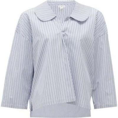 コム デ ギャルソン Comme des Garcons Comme des Garcons レディース ブラウス・シャツ トップス Peter Pan-collar striped cotton blouse Blue