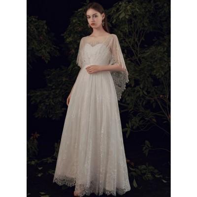 ウェディングドレス エンパイアドレス 結婚式 二次会 花嫁 マタニティ ドレス 白 ロングドレス 袖あり 半袖 大きいサイズ 3L 小さいサイズ シースルー