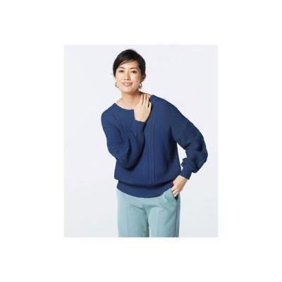 ドゥクラッセ DoCLASSE ケーブル編み・バックデザインセーター (ネイビー)