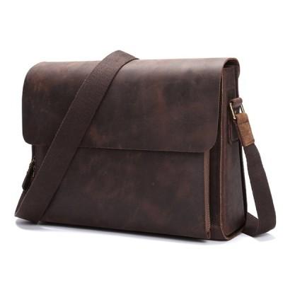 本革 ショルダーバッグ メンズ 大容量 レザー 通勤鞄 メッセンジャーバッグ レトロ フラップ ビジネスバッグ 斜めがけ鞄 A4収納 13インチPC収納