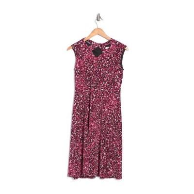 ロンドンタイムス レディース ワンピース トップス Printed Twisted Keyhole Sleeveless Knee Length Dress BLACK/CRAN