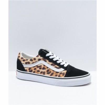 ヴァンズ VANS レディース スケートボード シューズ・靴 old skool leopard and black skate shoes Black