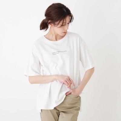 シューラルー SHOO-LA-RUE ドロップショルダーグラフィックTシャツ (ホワイト×ミニロゴ)
