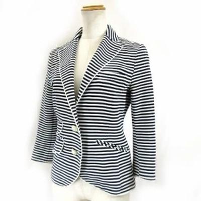【中古】ダブルスタンダードクロージング ダブスタ DOUBLE STANDARD CLOTHING ジャケット ブレザー ボーダー ライン 白 36 レディース