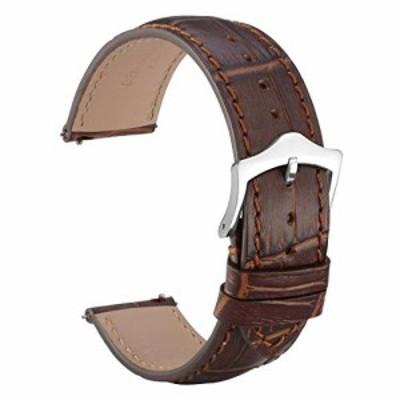 [WOCCI]時計ベルト 20mm クロコダイル型押し革腕時計バンド Quick Release (ブラウン/同色系ステッチ)