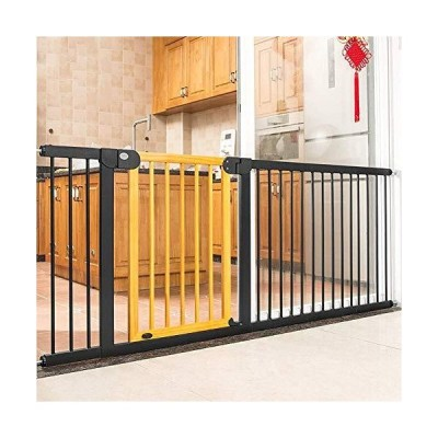 Pet Safety Gate Extra Wide Baby Safety Gates for Stairs and Doors, Pressure Fit Baby Gate with Walk Through Wood Door, Pet Toddler Kids Isol