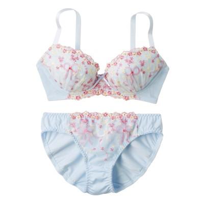 リボン柄レースブラジャー・ショーツセット(C70/M) (ブラジャー&ショーツセット)Bras & Panties