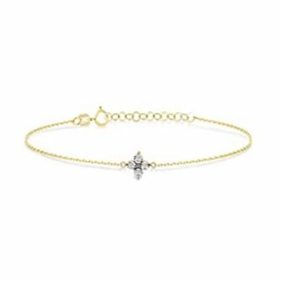 GELIN 14k Solid Gold 0.03 ct Genuine Diamond Solitaire Flower Link Chain Adjustable Bracelet for Women