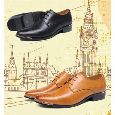 ビジネスシューズ オックスフォードシューズ ブロック  革靴  レザー 透かし彫り 紳士靴 カジュアル 通学 春夏 メンズ