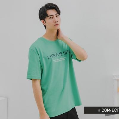 H:CONNECT 韓國品牌 男裝-簡約英文個性標語寬版T恤-綠色