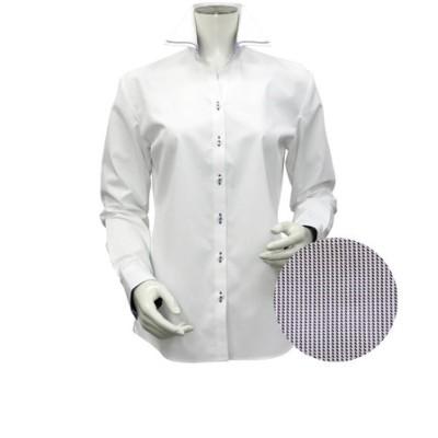 レディース ウィメンズシャツ 長袖 形態安定 マイター スキッパー衿 白×ストライプ織柄 (透け防止)