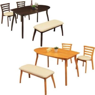 ダイニングテーブルセット 4人用 4点 ベンチ付き 半円テーブル 木製