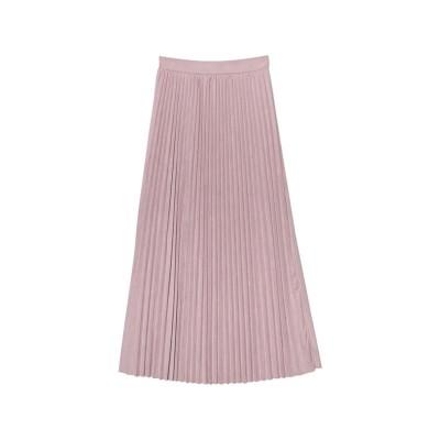 リエディ Re:EDIT [低身長向けSサイズ有]フェイクスウェードプリーツロングスカート (ラベンダー)