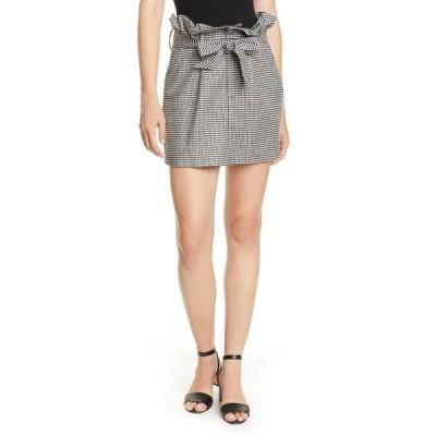 アリス アンド オリビア レディース スカート ボトムス Zoya Houndstooth Print Paper Bag Mini Skirt BLK WHT