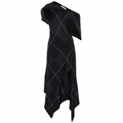 モンス Monse レディース ワンピース ワンピース・ドレス Checked satin midi dress Black