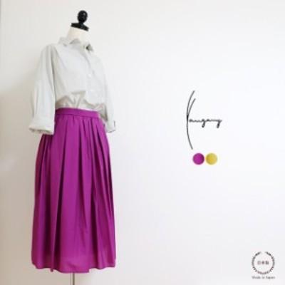 ヤンガニー裏地付き&ゴム仕様広がりすぎないギャザーたっぷり華やかなスカート(f-5375)【送料無料日本製洗える40代春夏ウエ