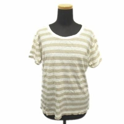 【中古】セオリー theory リネン100% ボーダー サマーニット Tシャツ カットソー プルオーバー S ベージュ