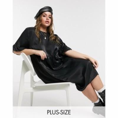 ローラ メイ Lola May Curve レディース ワンピース ワンピース・ドレス Long Smock Dress In Black Shimmer ブラック