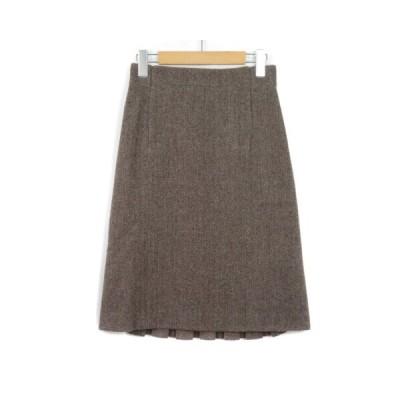 【中古】ウィムニールス WIM NEELS スカート ラップテイスト プリーツ ヘリンボーン 38 茶 ブラウン レディース 【ベクトル 古着】